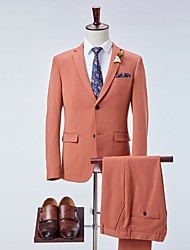 cheap -Men's Suits Notch Lapel Polyester Brown