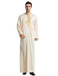 cheap -Men's Daily Basic Spring &  Fall Long Abaya, Solid Colored Stand Long Sleeve Polyester Embroidered Black / White / Beige