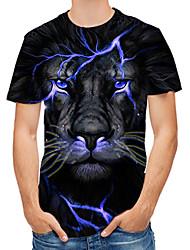 cheap -Men's T shirt Graphic 3D Animal Print Tops Black
