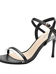 cheap -Women's Sandals Stiletto Heel Round Toe PU Summer Black / Almond