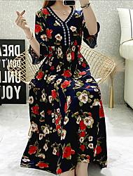 cheap -Women's Swing Dress - Geometric Black Maxi Yellow Royal Blue M L XL