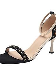 cheap -Women's Sandals Stiletto Heel Round Toe Suede Summer Black / Black / Gold