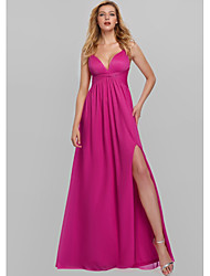 cheap -A-Line Minimalist Sexy Wedding Guest Prom Dress V Neck Sleeveless Floor Length Polyester with Split 2020
