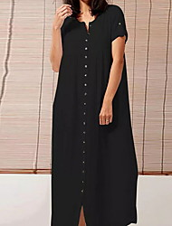 cheap -Women's White Black Dress Shirt Solid Color V Neck S M