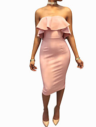 cheap -Women's Blushing Pink Blue Dress Sheath Solid Color Strapless S M Slim