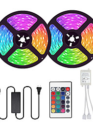 cheap -2x5M Flexible LED Strip Lights Light Sets RGB Tiktok Lights 600 LEDs SMD5050 10mm 1 24Keys Remote Controller 1 x 10A power adapter 1 set Multi Color Cuttable Party Decorative 85-265 V