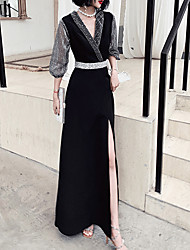 cheap -A-Line V Neck Floor Length Spandex Glittering / Black Formal Evening / Wedding Guest Dress with Crystals / Sash / Ribbon 2020 / Illusion Sleeve
