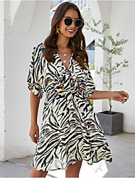 cheap -Women's Camel White Dress Sheath Leopard V Neck S M