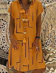 cheap -Women's A Line Dress - Geometric Black Yellow Fuchsia S M L XL