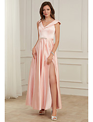 cheap -A-Line Pink Spring Party Wear Prom Dress V Neck Sleeveless Floor Length Satin with Beading Split 2020