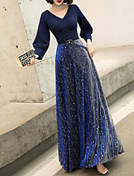 cheap -A-Line Glittering Blue Prom Formal Evening Dress V Neck Long Sleeve Floor Length Spandex Polyester with Buttons 2020