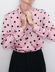 cheap -Women's Polka Dot Shirt Daily Shirt Collar Blushing Pink