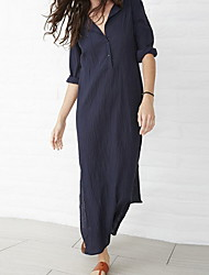 cheap -Women's Maxi Green Navy Blue Dress Tunic Swing Solid Color V Neck S M Loose