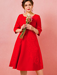 cheap -A-Line Plus Size Red Engagement Cocktail Party Dress Jewel Neck Half Sleeve Tea Length Spandex with Pleats 2020