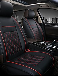 cheap -2pcs Black / Red / Beige / Coffee PU Leather Breathable Business Style Non-slip Rhombus stripes Comfortable Car Seat Covers For universal