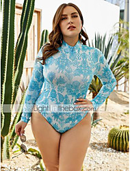 cheap -Women's Plus Size Blue One-piece Swimwear Swimsuit - Geometric XL 2XL 3XL Blue