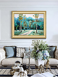 cheap -Framed Art Print Green Country Scenery Forest Path Living Room Dining Room Wall Canvas Art Deco Hangs Pictures
