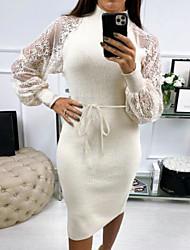 cheap -Women's White Black Dress Bodycon Solid Color Turtleneck S M