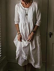 cheap -Women's Maxi Shift Dress - 3/4 Length Sleeve Solid Color Loose White Black Blue Gray S M L XL XXL XXXL / Cotton