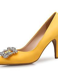 cheap -Women's Heels Stiletto Heel Pointed Toe Rhinestone Satin Sweet / Minimalism Spring & Summer Yellow / Pink / Party & Evening