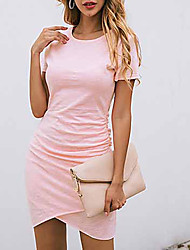 cheap -Women's 2020 Wine Blushing Pink Dress Casual Summer Daily Sheath Solid Color Asymetric Hem S M Slim