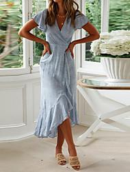 cheap -Women's Asymmetrical Fuchsia Light Blue Dress Summer Causal Beach A Line Polka Dot Deep V Ruffle Asymetric Hem S M