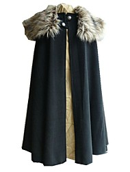 cheap -Men's Daily Punk & Gothic Fall & Winter Long Cloak / Capes, Solid Colored Hooded Long Sleeve Polyester Blue / Brown / Black