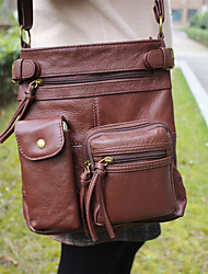 cheap -Men's Zipper Nappa Leather Crossbody Bag Solid Color Brown