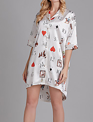 cheap -Women's Round Neck / Shirt Collar Robes Pajamas Plaid / Letter