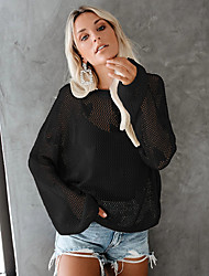 cheap -Women's Solid Colored Long Sleeve Pullover Sweater Jumper, Scoop Neck Black / Wine / White One-Size