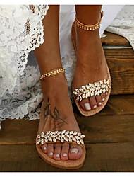 cheap -Women's Sandals Boho / Beach Flat Sandals Summer Flat Heel Round Toe Boho Daily Beach PU Brown