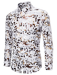 cheap -Men's Party Daily Basic Shirt - Geometric / Color Block / Check Black & White, Print Black
