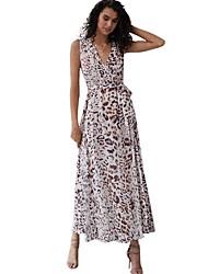 cheap -Women's Maxi White Dress A Line Leopard V Neck S M