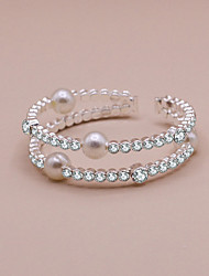 cheap -Women's Cuff Bracelet Double Layered Precious Sweet Cute Rhinestone Bracelet Jewelry White For Wedding Party Gift