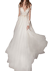 cheap -A-Line Illusion Neck Floor Length Polyester Sexy / White Engagement / Formal Evening Dress with Appliques 2020