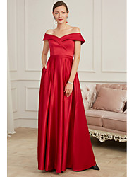 cheap -A-Line Elegant Red Party Wear Prom Dress Off Shoulder Sleeveless Floor Length Satin with Pleats 2020