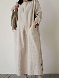cheap -Women's Maxi Red Beige Dress Loose Solid Color One-Size Loose