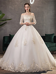 cheap -Ball Gown Wedding Dresses Off Shoulder Watteau Train Lace Tulle Polyester 3/4 Length Sleeve Romantic Illusion Sleeve with Lace 2020