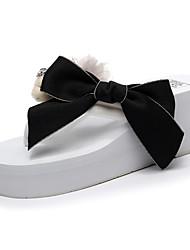 cheap -Women's Slippers & Flip-Flops Wedge Heel Open Toe Rhinestone / Bowknot Polyester Sweet / British Walking Shoes Summer Black / White / Pink