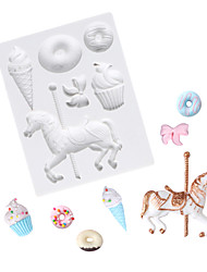 cheap -Baby feast carousel ice cream bowknot small cake chocolate mold fondant silicone mold
