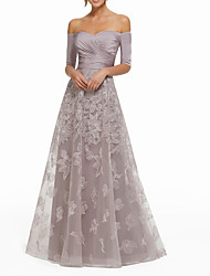 cheap -A-Line Sexy Purple Wedding Guest Formal Evening Dress Off Shoulder Half Sleeve Floor Length Lace with Ruched Appliques 2020