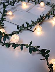 Недорогие -искусственный зеленый лист ротанга цветок лозы пузырь бисер светодиодные струны света проволоки зеленый ротанга строка света украшения