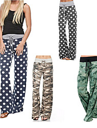 cheap -Women's High Waist Yoga Pants Palazzo Wide Leg Drawstring Pants / Trousers Breathable Camo / Camouflage Grey Green Blue Cotton Gym Workout Running Fitness Sports Activewear Stretchy