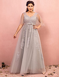 cheap -A-Line Plus Size Grey Prom Formal Evening Dress V Neck Half Sleeve Floor Length Lace Satin Tulle with Bow(s) Beading 2020 / Illusion Sleeve