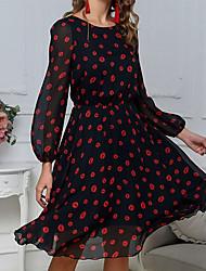 cheap -Women's Black Dress Spring & Summer A Line Polka Dot S M