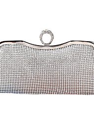 cheap -Women's Bags Polyester Alloy Evening Bag Glitter Crystals Solid Color Wedding Bags Wedding Party Event / Party Black Gold Silver