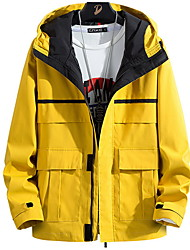 cheap -Men's Daily Fall & Winter Regular Jacket, Solid Colored Hooded Long Sleeve Polyester Black / Yellow / Light Blue