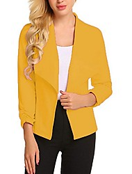 cheap -Women's Blazer, Solid Colored Shirt Collar Polyester Black / White / Yellow