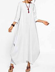 cheap -Women's A Line Dress - Solid Maxi Color Black White Blue M L XL XXL