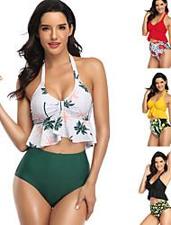 cheap -Women's Beach Girl Vintage 1950s Bikini Tankini Swimsuit Spandex Tactel Round Dots Printing Black Yellow Bra Shorts